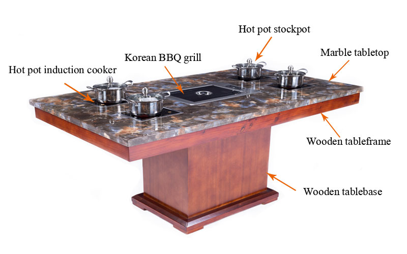 CENHOT Hot Pot With Korean Barbucue grill Table For Restaurant-structure