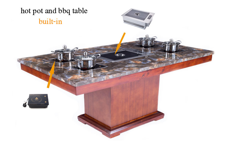 induction cooker or barbuce grill built-in the restaurant hot pot and bbq dining table-CENHOT
