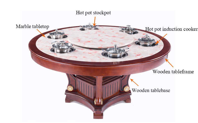 CENHOT Marble Hot Pot Restaurant Dining Table With Induction Cooker-structure