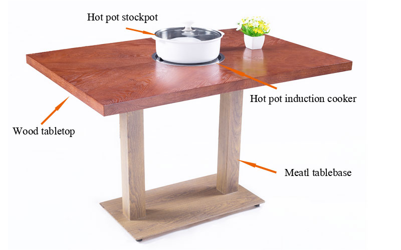 CENHOT Hot-sale Wooden Tabletop Hot-pot Tables' structure