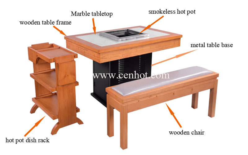 CENHOT-Restaurant-Smokeless-Hot-Pot-Tables-And-Chairs-Sets--structure-CH-T32