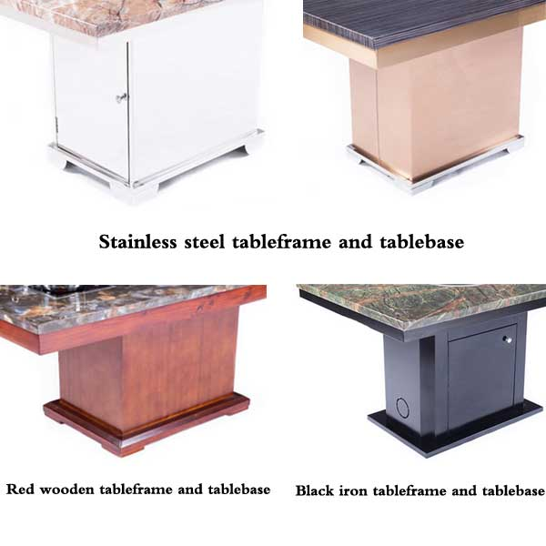 a variety of materials and colors of the table frame and table base - CENHOT