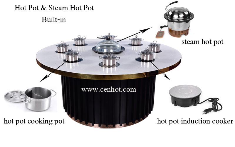 Shabu shabu hot pot and steam hot pot in the table - CENHOT