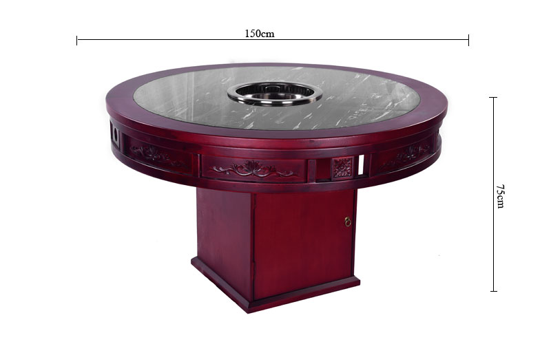 The size of CENHOT Round No Smoke Hot Pot Table For Restaurant Owners