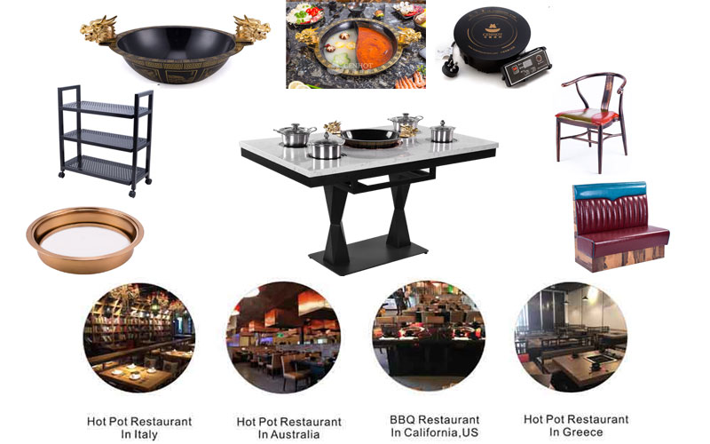 CENHOT Quartz Stone Hot Pot Table with other restaurant hot pot equipment products