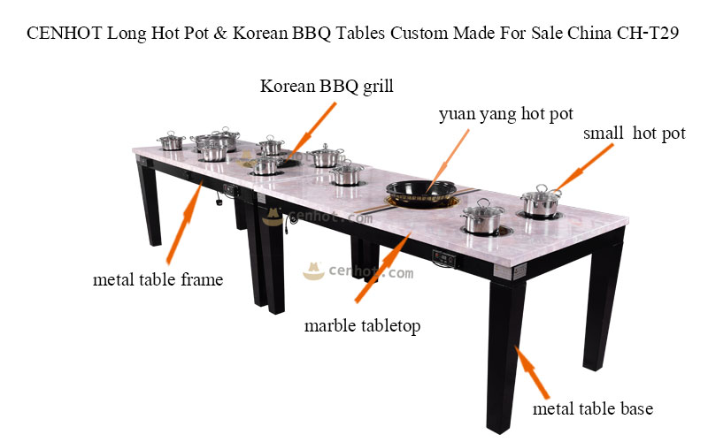 CENHOT Long Square Hot Pot & Korean BBQ Tables Custom Made For Sale China structure - CH-T29