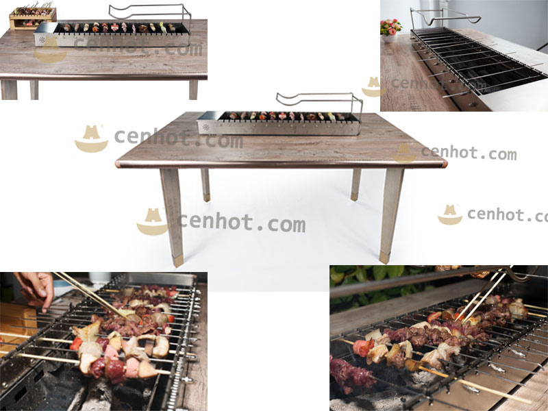 Automatic Rotating Indoor Barbecue Charcoal Grill effect - CENHOT