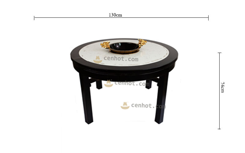 CENHOT Round Built In Hot Pot Table size