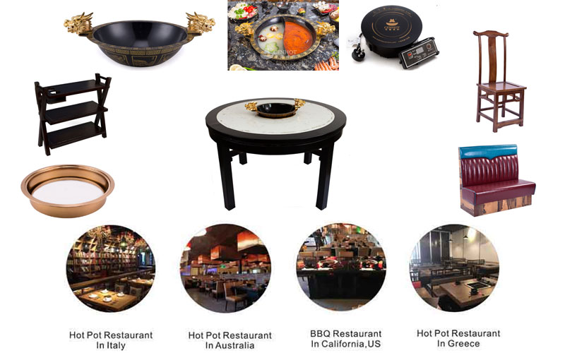 CENHOT Round Built In Hot Pot Table for hot pot restaurant